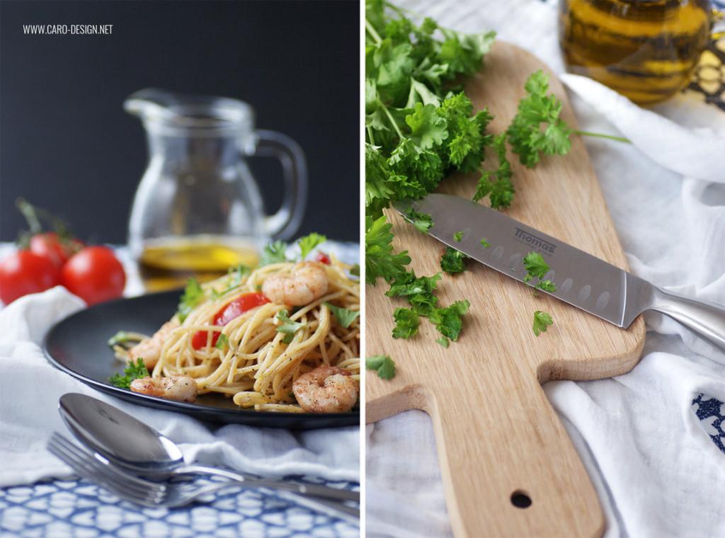 Spaghetti aglio olio mit Garnelen und Tomaten